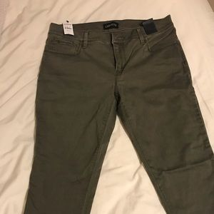 Express Mid-Rise Olive Green Leggings/Jeans